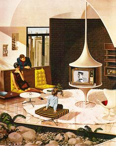 1960's Motorola Ads Paint Portrait of Futuristic Consumer's Paradise - Art by Charles Schridde.
