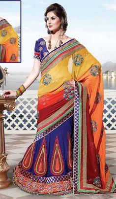 G3 fashions Royal Blue Orange Yellow Shaded Georgette Wedding Wear lehanga Saree.  Product Code : G3-LS10113 Price : INR RS 8720