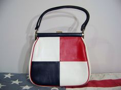 60s Purse Handbag MOD Color Block Red White Blue Vintage 1960s Vinyl Bag.