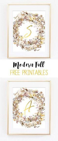 fall printable art   fall wreath printables   initial printable art   alphabet printables   gold   wall art