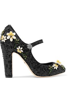 DOLCE & GABBANA BEAD AND SEQUIN-EMBELLISHED LEATHER PUMPS 387,50£ http://www.theoutnet.com/product/972498