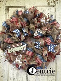 Patriotic Mesh Wreath, 4th of July Wreath, Memorial Day Wreath, Patriotic Burlap Wreath, Americana Wreath, Red White Blue Front Door Wreath