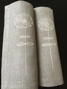 Linen Placemats Hand Embroidery Natural Set 2