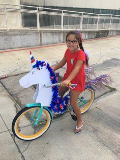 of July unicorn Bike Decorations, 4th Of July Decorations, Bicycle Decor, Kids Bicycle, 4th Of July Parade, Fourth Of July, Unicorn Bike, Bike Parade, Poor Children