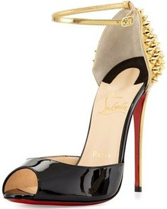 Christian Louboutin Pina Spike Black, Gold Pumps 38