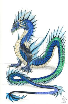 Blue-Green Sea Serpent by SabrielDragonkin.deviantart.com on @deviantART