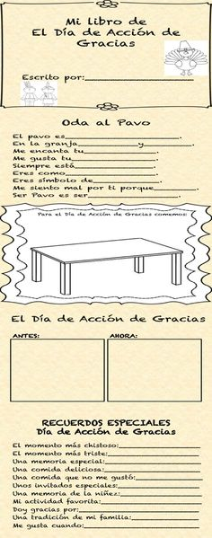Dia de Accion de Gracias Libro-Have students create their own book about Thanksgiving in Spanish!