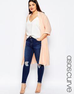 Image 1 ofASOS CURVE Longline Soft Blazer With Pleated Back