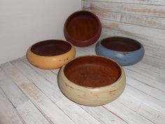 Painted Wood Bowl Set  Rustic Serving Bowl Set  Wood by AtticJoys1