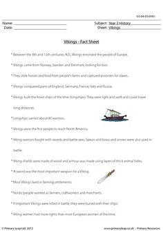 PrimaryLeap.co.uk - Vikings - Fact sheet Worksheet