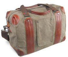 Love the shape and details of this bag - this seller has a lot of great stuff! Mens Men Retro handmade canvas leather overnight duffel weekend tote bag travel luggage