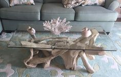 A handcrafted driftwood coffee table, driftwood tables, driftwood art, driftwood coffee tables and glass top tables by artisan Carl Woodland. The driftwood coffee table base is perfect. Rustic Log Furniture, Driftwood Furniture, Driftwood Art, Table Furniture, Furniture Design, Outdoor Furniture, Rustic Beach Decor, Rustic Cabin Decor, Glass Top Coffee Table