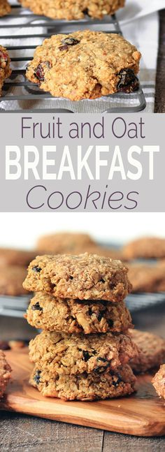 Healthy fruit and oat breakfast cookies (freezer-friendly) are simple to make, requiring only 1 bowl and 10 ingredients. Vegan, gluten-free, perfectly sweet and chewy, and the perfect snack or on-the- (Breakfast Cookies) Healthy Bedtime Snacks, Healthy Vegan Snacks, Healthy Fruits, Vegan Meals, Healthy Baking, Vegan Recipes, Breakfast On The Go, Breakfast Bars, Breakfast Cookies