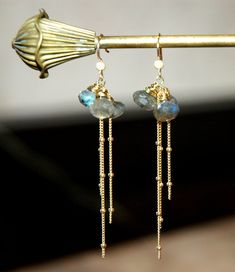 Onion Cut Laborodite / Moonstone Gemstone Earrings with 14k Gold Filled Ball Chain and Ear Wires