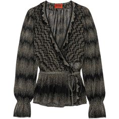 Missoni Metallic crochet-knit wrap blouse (£328) ❤ liked on Polyvore featuring tops, blouses, black, metallic blouse, tie blouse, metallic top, wrap around top and knit top