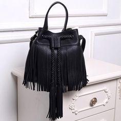 $31.30 (Buy here: https://alitems.com/g/1e8d114494ebda23ff8b16525dc3e8/?i=5&ulp=https%3A%2F%2Fwww.aliexpress.com%2Fitem%2F5868%2F32637330995.html ) 2016 famous brand bucket Women Messenger Bags tassel tote bag drawstring leather handbags female small flap bag black bolsa for just $31.30