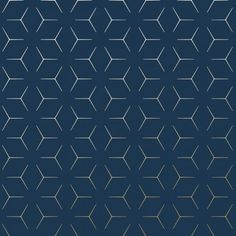 Metro Illusion Geometric Wallpaper - Navy Blue and Gold - Metro Illusion . Blue Wallpaper Bedroom, Paper Wallpaper, Blue And Gold Wallpaper, Navy Wallpaper, Gray Bedroom, Master Bedrooms, Geometric Wallpaper Charcoal, Textured Wallpaper, Web Design