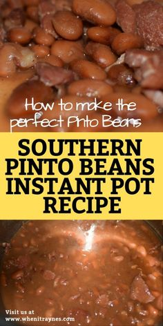 How to make perfect southern pinto beans. Instant pot recipe A step by step guide on making true southern pinto beans. Learn how to make dried pinto beans in an Instant Pot or pressure cooker. Southern Pinto Beans Recipe, Instant Pot Pinto Beans Recipe, Pinto Bean Recipes, Best Instant Pot Recipe, Instant Pot Dinner Recipes, Brown Beans Recipe, Beans In Crockpot, Crockpot Recipes, Recipes