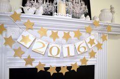 2016 Happy New year banner, 2016 photo prop, graduation garland, 2016 bunting, cake table 2016 decorations, black gold graduation decor