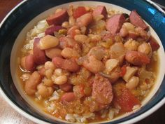 Slow Cooker Soup: Calico bean soup with smoked sausage, from Eat at Home