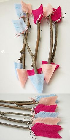 Felt and twig arrows via Homework blog + Treehouse Kid & Craft This would be a great party craft idea for a Brave party #valentinesideas