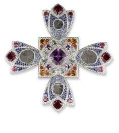 Michelle Ong, Emerald, sapphire diamond cross brooch