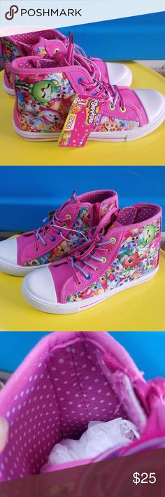 NEW Shopkins Multicolor Hi-Top Sneakers Toddlers ONE Pair of Girl's Shopkin's High Top sneakers with zippers on the side and polkadot lining. Really cute! Size 1M  Bundle and save~!  Everything listed is brand new and has never been used (unless stated otherwise).  Thank you for shopping with us! Shopkins Shoes Sneakers