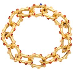 Shop diamond and gold link bracelets and other vintage and antique bracelets from the world's best jewelry dealers. Gold Link Bracelet, Coral Bracelet, Coral Jewelry, Tiffany Jewelry, Link Bracelets, Bangle Bracelets, Fine Jewelry, Gold Bangles, Gold Jewellery