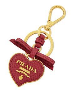 V21YP Prada Saffiano Leather Heart Keychain, Pink (Peonia)