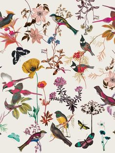 Flower and bird illustration pattern