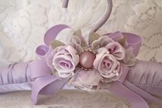 Gift Wrapping Ideas : The Polka Dot Closet: Altering Vintage Hangers Wedding Dress Hanger, Wedding Hangers, Padded Hangers, Ring Pillow Wedding, Ideas Geniales, Denim And Lace, Ribbon Work, Silk Ribbon Embroidery, Coat Hanger