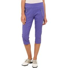 Jamie Sadock Skinnylicious 28.5 in. Pedal Pusher (Gatsby Purple) ($50) ❤ liked on Polyvore featuring pants, capris, purple, jamie sadock, purple trousers, stretch waist pants, rayon pants and viscose pants
