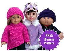 Free Doll Clothes Beanie Pattern for Cabbage Patch Kids Dolls. Comes with PDF pattern pieces and instructions and 30 days access to online step by step video tutorials on how to make this wonderful pattern. cabbage-patch-doll-clothes-sewing-patterns