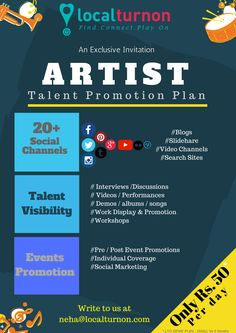 Localturnon launches #ARTIST #PROMOTION #PLANS starting at ONLY Rs. 50* / Day aimed at promoting & supporting #Artists !  To enroll please contact - NEHA@LOCALTURNON.COM  #turnon #music #turnon #dance #turnon #talent