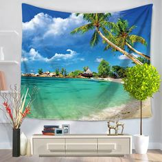 Summer Beach Scenery Tapestry Wall Hanging Living Room Bedroom Decorative Tapestry <font><b>Art</b></font> Door Curtain Beach Towel <font><b>Yoga</b></font> Mat Dorm Themes, Seaside Beach, Summer Beach, Palm Beach, Beach Bedspreads, Beach Scenery, Beach Wall Decor, Rack, Mandala Tapestry