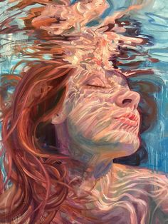 These Stunning Underwater Paintings By Isabel Emrich Will Take Your Breath Away - Under water - Art Art Sketches, Art Drawings, Underwater Painting, Breathing Underwater, Painting Abstract, Painting Art, Reflection Art, L'art Du Portrait, Self Portrait Artists
