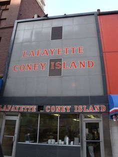 Lafayette Coney Island in Detroit, Michigan.  Delicious coney dog (hot dog topped with mustard, chili, and chopped onions).