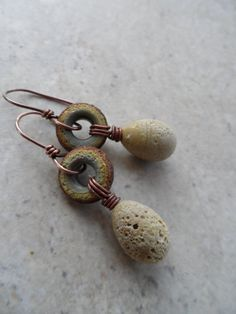 Sand Dunes ... Lampwork and Copper Wire-Wrapped Earrings ( headpins by Raida of Havana beads)