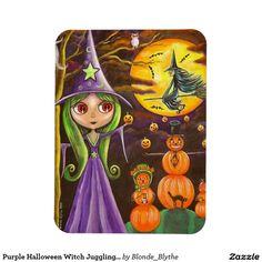Purple Halloween Witch Juggling Pumpkins Big Eyes Rectangular Photo Magnet