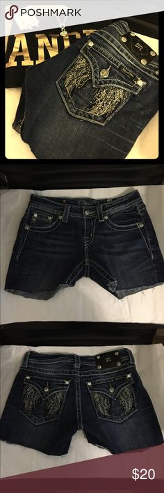 "Size 26 Miss Me Cutoffs ""Are you sure you want to wear jeans? It will be hot."" ""YES. Mom. I'll be fine."" *one pair of scissors later...* these size 26 Miss Me shorts began life as a pair of bootcut jeans, but they are now shorts. The cuffs can be rolled up for a more polished look, or worn as is. There are no rips, stains, or missing embellishments. The cuffs may be a bit uneven but they should be fine rolled up, or they can be fixed. 😊 Miss Me size chart is in last pic. Miss Me Shorts Jean…"