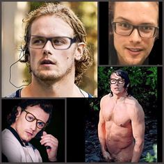 We know Sam wears glasses top right but how cute would he be if he wore them more often? Sam Hueghan, Sam And Cait, Claire Fraser, Jamie Fraser, Sam Heughan Family, Sams Hair, Jamie Mcguire, Black Dagger Brotherhood, Call The Midwife