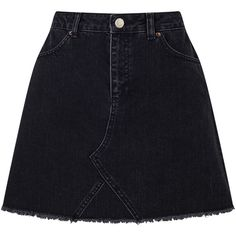 Miss Selfridge Authentic Denim Skirt (335 ARS) ❤ liked on Polyvore featuring skirts, mini skirts, black, bottoms, short mini skirts, print skirt, denim mini skirt, patterned skirts and short denim skirts