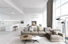 salon avec peinture murale blanche, canapé beige, tables basses et rondes en bois
