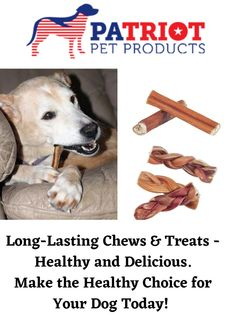 Looking to keep your Dog busy for an hour or two? Patriot Pet has the best chews and treats for all sizes and breeds. We have chews for the most aggressive of chewers to those dogs that just want to gnaw on something delicious. Natural Dog Treats, Healthy Choices, Pet Products, Pets, Animals And Pets, Pet Supplies