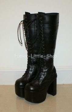 Gothic Lolita Black Knee High Heels Boots- Vain pöyreä kärkiset hakusessa koko EU38/UK 5-5,5/ US7-7,5