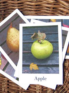 Fruit and vegetable flash cards.