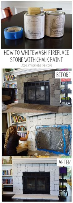 Tired of looking at your old, dated fireplace stone? Brighten it up with some chalk paint to create a more modern whitewashed look. This project is quick, easy and completely transforms the look of your fireplace. All you need is some chalk paint (in white and light gray), water, painter's tape, a plastic tarp, and some paintbrushes! Goodbye old fireplace stone!