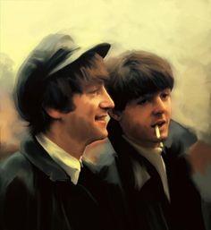 Early Days John Lennon And Paul Mccartney Painting  - David Puciarelli