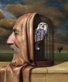 Igor Morski, human face draped over owl birdcage #surreal painting.