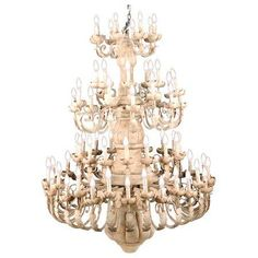 "Candelabra Home Wood & Iron Grande chandelier, 71""h x 47"" dia, $1950.00!!"